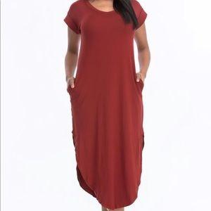 Rust Maxi Dress With Pockets Women's Fashion